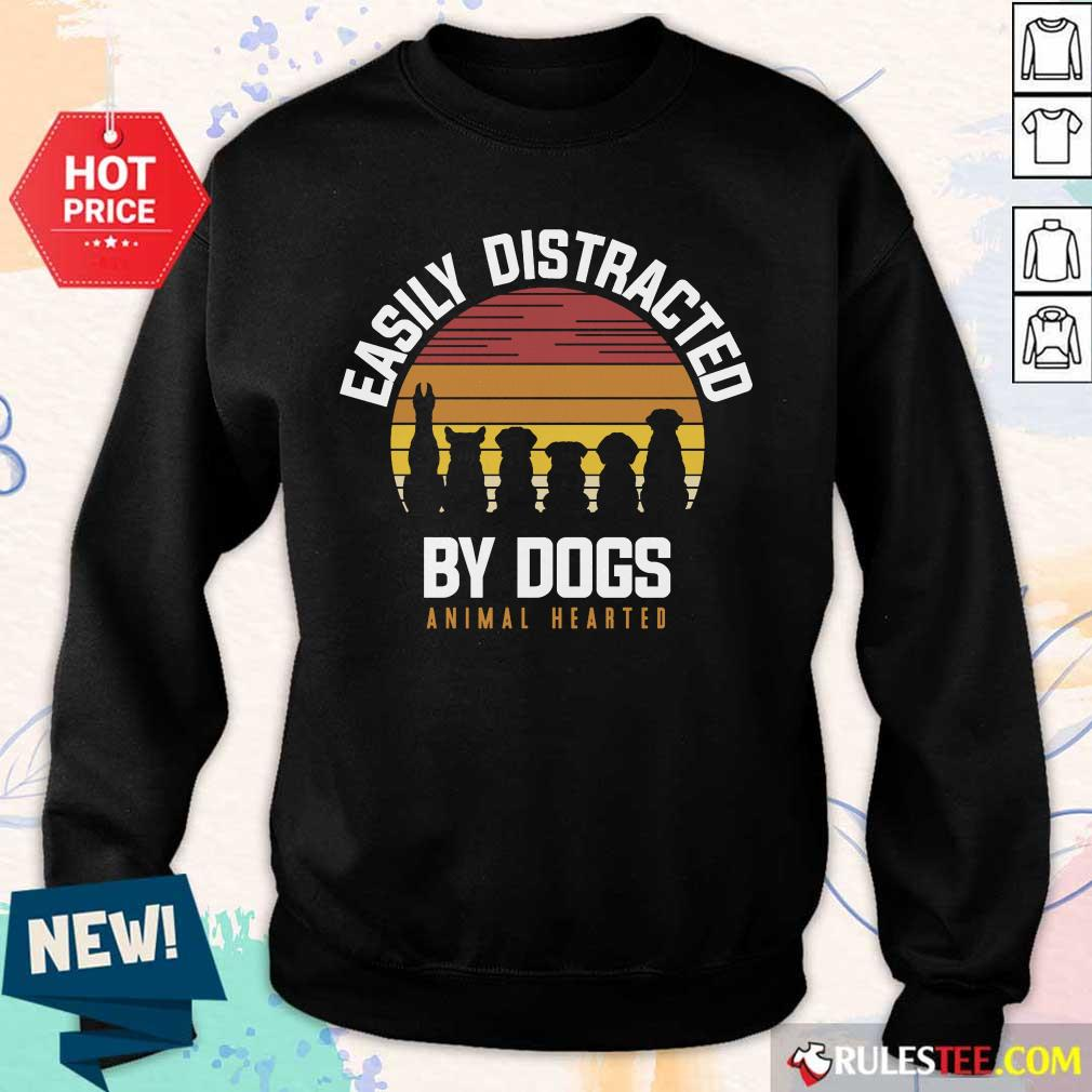 Hot Easily Distracted By Dogs Animal Hearted Vintage Sweater