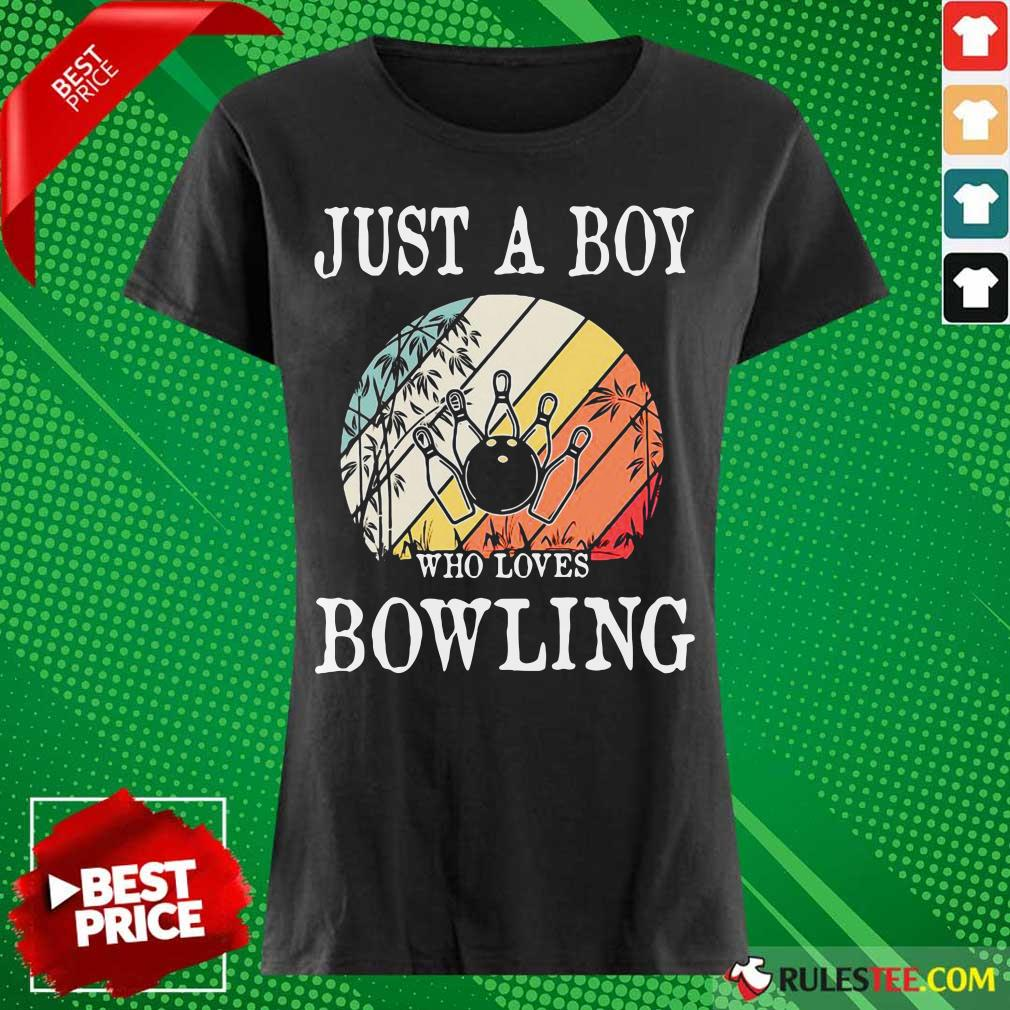 Just A Boy Who Loves Bowling Vintage Ladies Tee