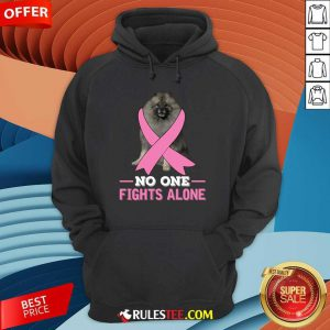 Keeshond No One Fights Alone Breast Cancer Awareness Hoodie