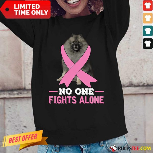 Keeshond No One Fights Alone Breast Cancer Awareness Long-Sleeved