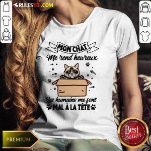 Mon Chat Me Rend Heureux Les Humains Me Font Mal A La Tete Ladies Tee