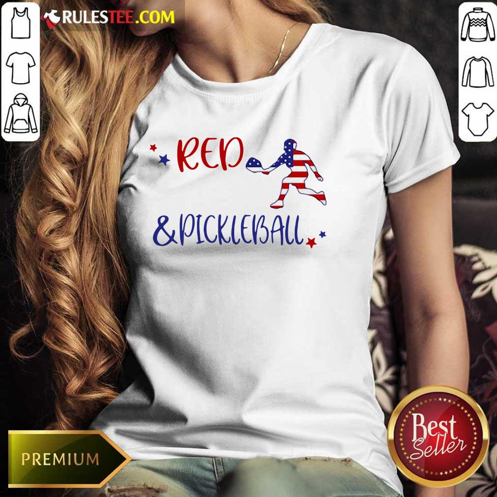 Red And Pickleball American Flag Independence Day Ladies Tee
