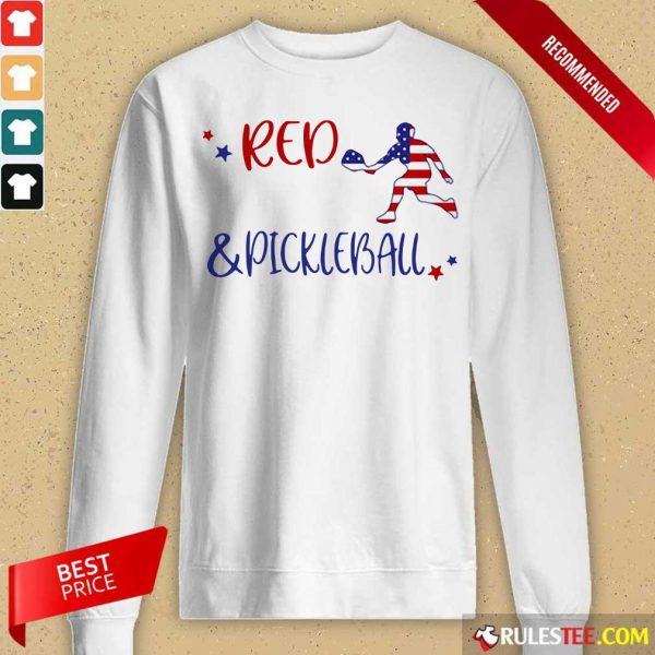 Red And Pickleball American Flag Independence Day Long-Sleeved