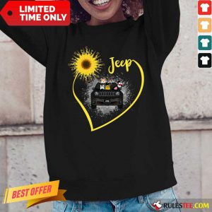 Sunflower Jeep Driver Dog Long-Sleeved